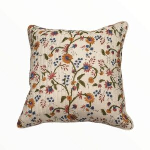 HANDBLOCK QUILTED CUSHION COVER - 16 X 16